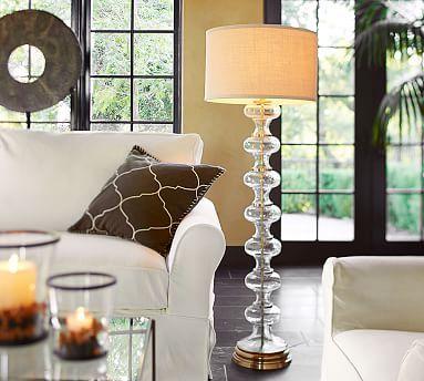 Jasmine Curvy Glass Amp Brass Floor Lamp Cfl At Pottery