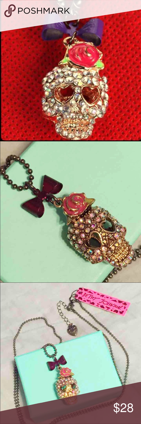 💀BETSEY JOHNSON PUNK SKULL NECKLACE💀 Boutique | Lavender roses ...