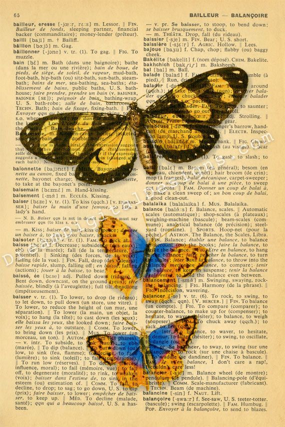 Butterfly Print on Vintage Dictionary Page 5 x by ArtPrintsVintage, $8.00