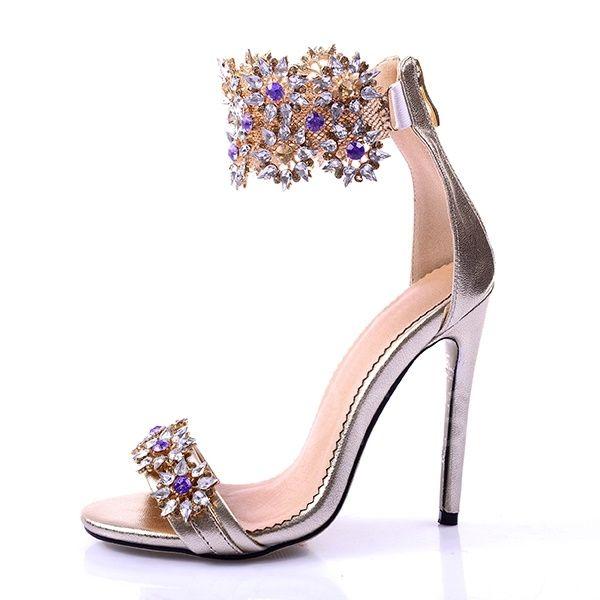 d160747592ca79 Fancy Rhinestone Stiletto Heel Sandals Women s Wedding Shoes - m.tbdress.com