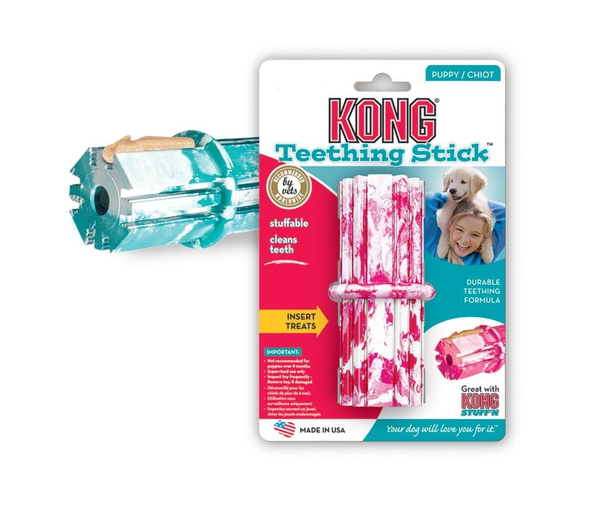 Kong Puppy Teething Stick Dog Toy Medium Assorted Pink Blue