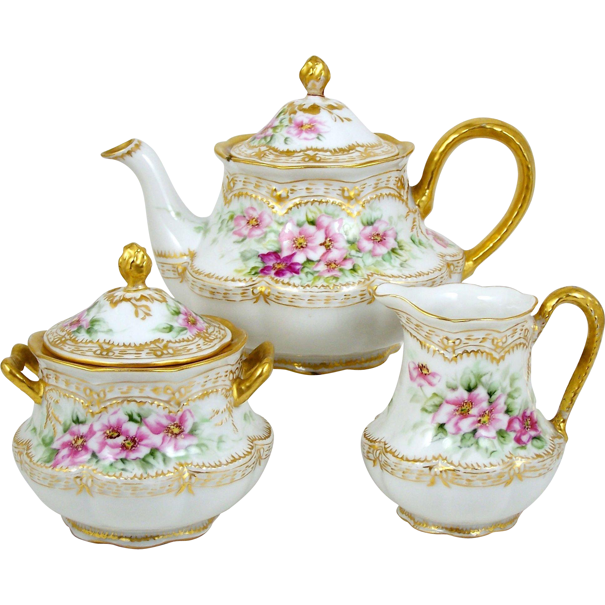 Haviland Teapot Set Hand Painted Signed Old Fashioned Roses 3 Pieces ...
