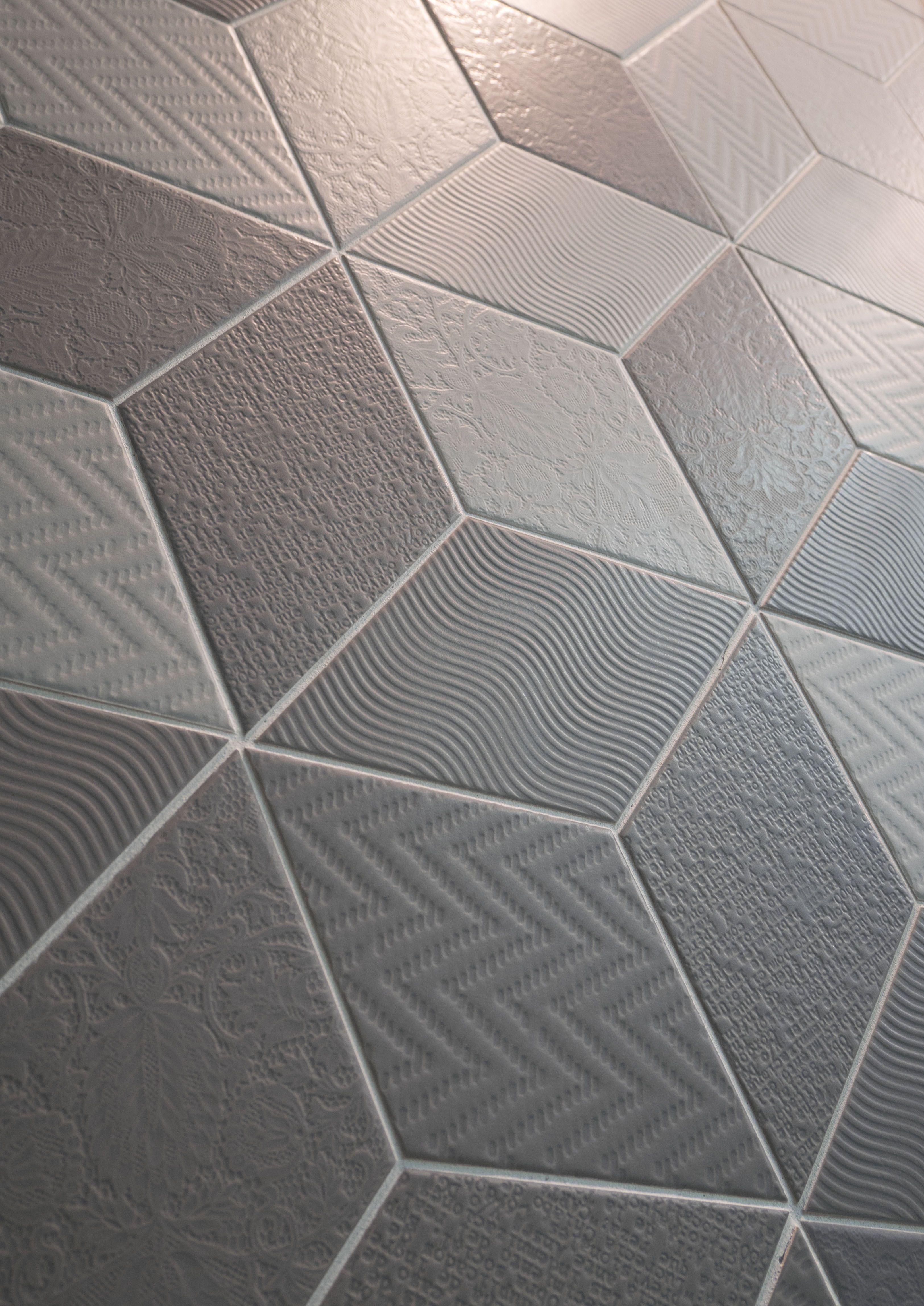 Rhombus Dark Grey Light Grey Nais Es Textured Tile Backsplash Rhombus Tile House Tiles