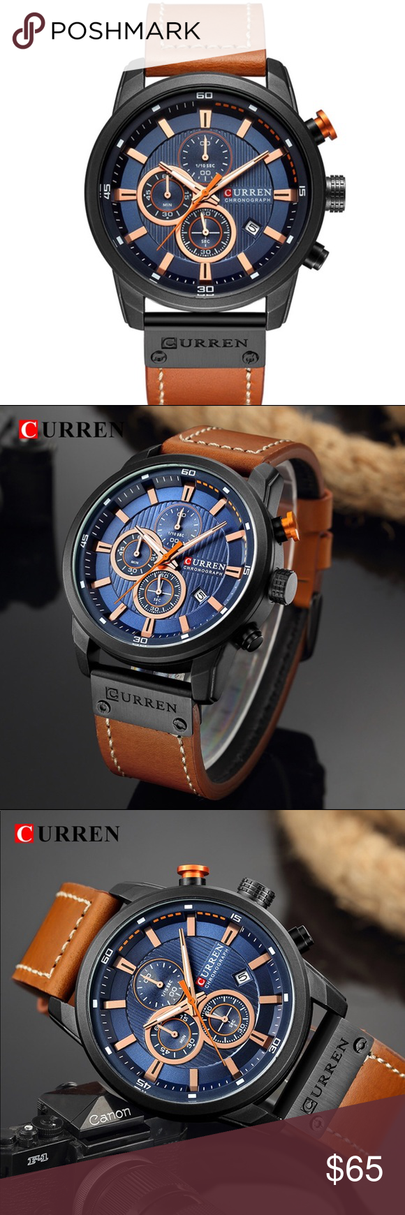 Sports Watch for Men Curren Brand Men's Sports Watch Chronograph Water Resistant (30 m) Complete Calendar  Case Material: Stainless Steel Band Material: Leather  Band Length: 23 cm (9.05 inch) Dial Diameter: 45 mm (1.77 inch) Band Width: 22 mm (0.86 inch) Curren Accessories Watches #sportswatches