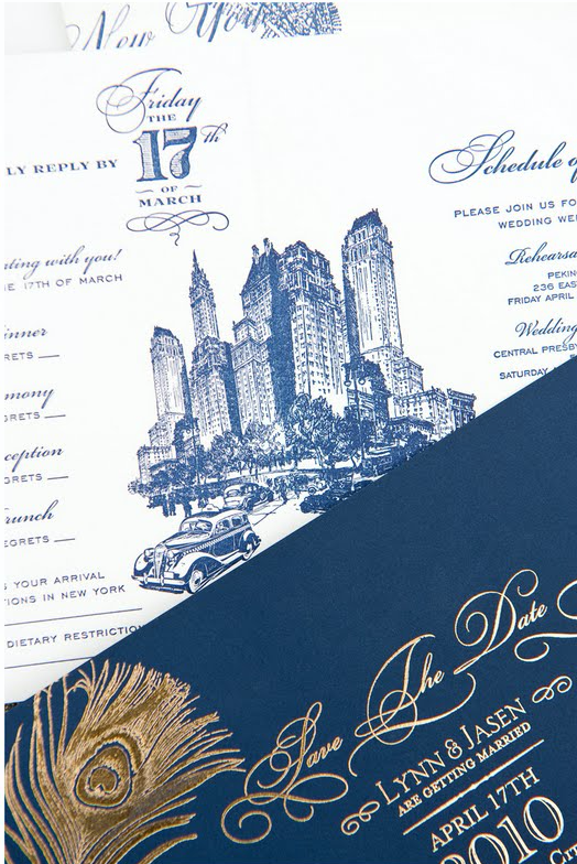 New York City wedding invitation and save the date by Atelier Isabey ... ee32bd127b5