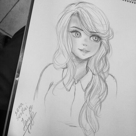 I draw a girl when I was waiting for the bus