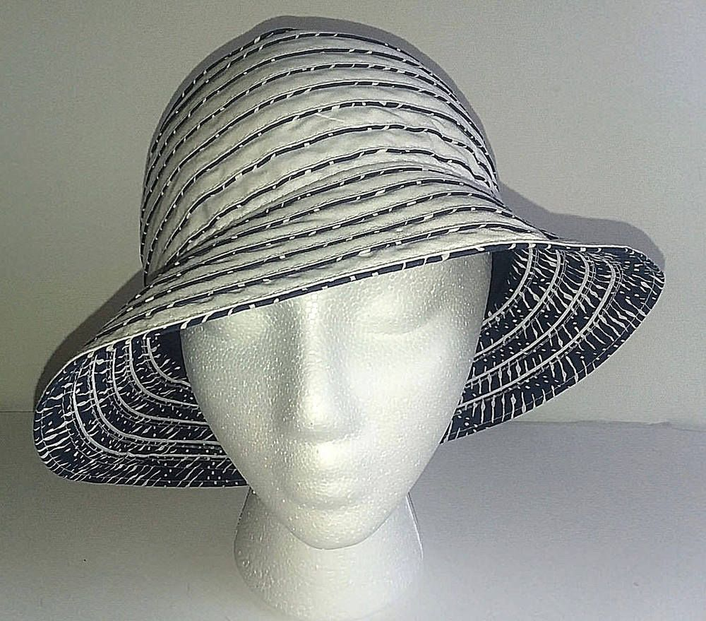 6387edf1544 BUCKET HAT Womens Summer Hat White And Blue Adjustable Band Reversable   fashion  clothing