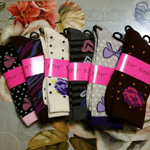 Betsey Johnson Socks 6 Pair Package. Crew Socks. Variety of Patterns. 95% poly and 5% spandex Betsey Johnson Accessories Hosiery & Socks