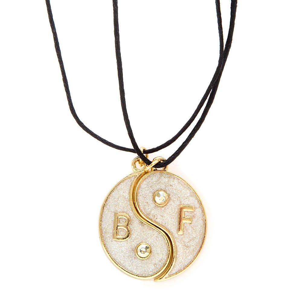 Best Friends Gold And Ivory Glitter Yin Yang Symbol Pendant