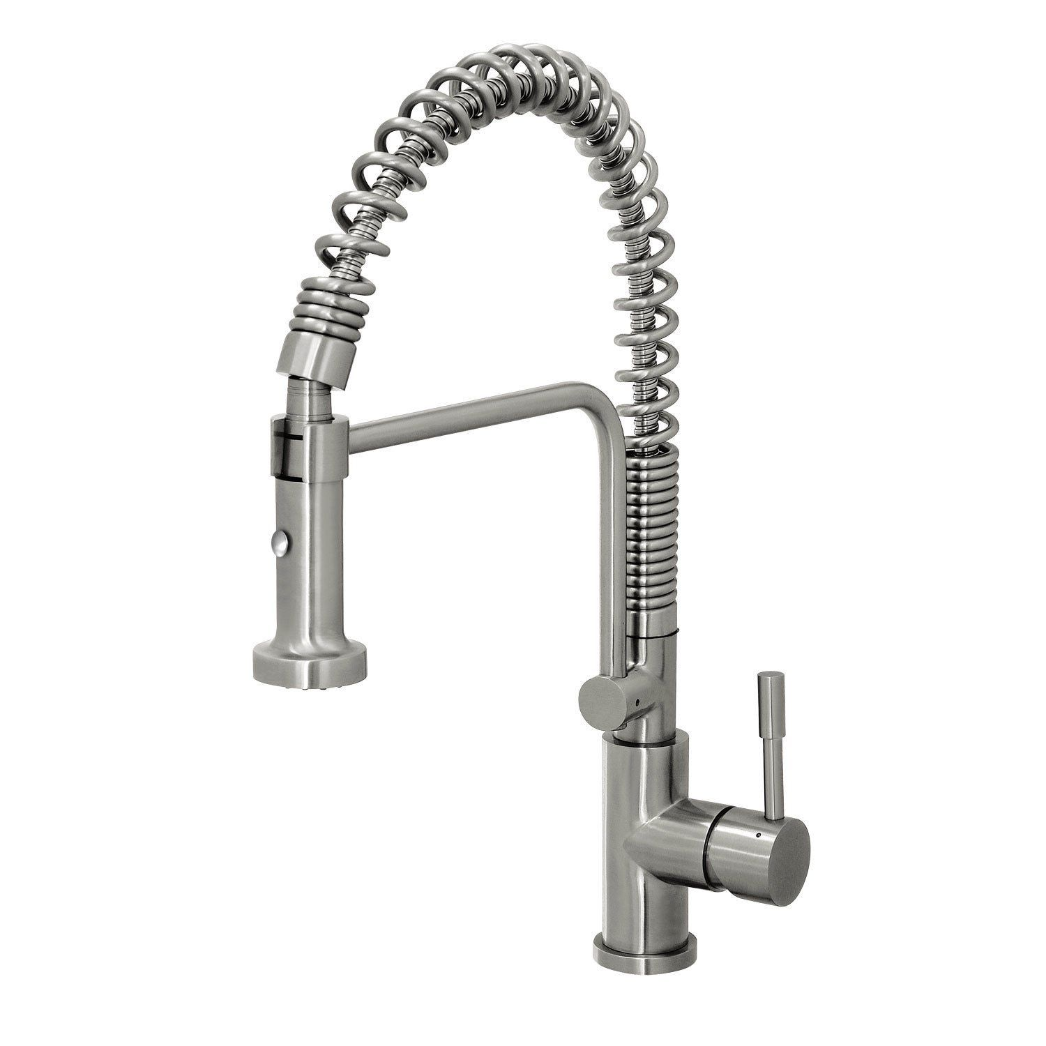 steel commercial style coiled spring kitchen pull faucet jewel ...