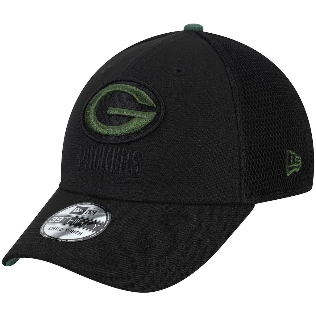 Youth New Era Black Green Bay Packers Two Tone Sided 39thirty Flex Hat Green Bay Packers Green Bay Black