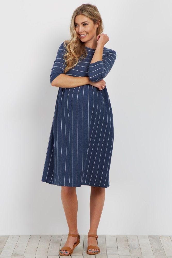 33fb1cf7a07 Blue Pinstriped Pleated Maternity Dress