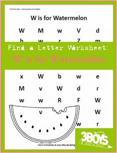 find the letter w is for watermelon homeschooling preschool letters letter w activities. Black Bedroom Furniture Sets. Home Design Ideas