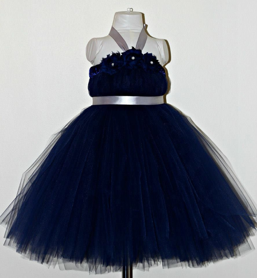 Navy blue and silver tutu dress wedding by tutullycutedesigns