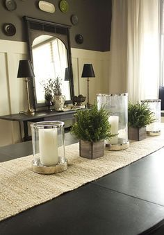 Dining Room Cream Table Mat Candle Holder Flower Green Plant Side Board Desk Lamp Wall Decoration