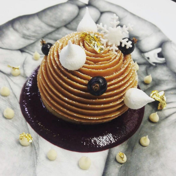 le mont blanc a chestnut dome with black currant coulis and meringue of yuzu at l