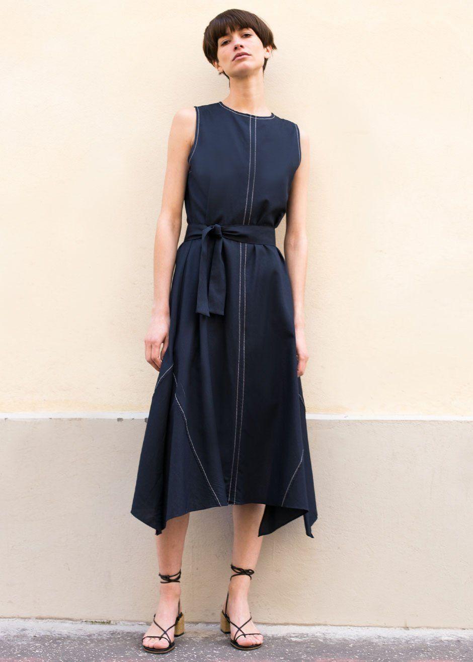631786f4ab Sleeveless Navy Contrast Stitching Dress
