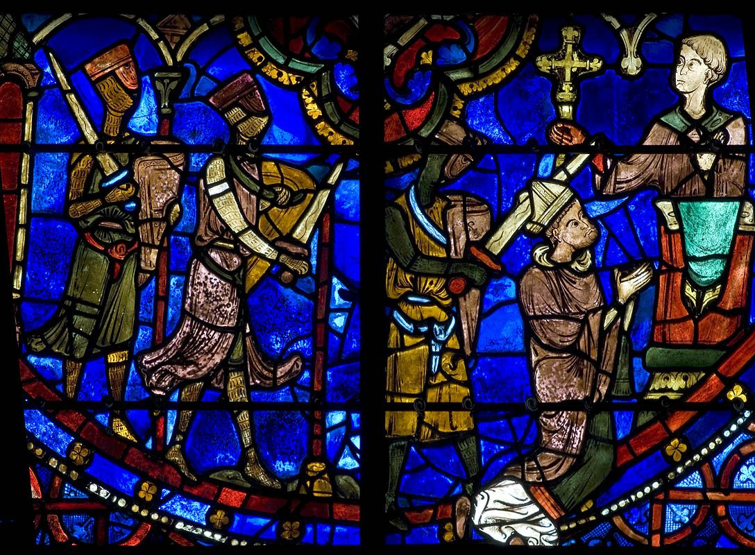 thomas becket essay comparision of gothic cathedral architecture  chartres cathedral stained glass bay st thomas becket panel chartres cathedral stained glass bay 18 st