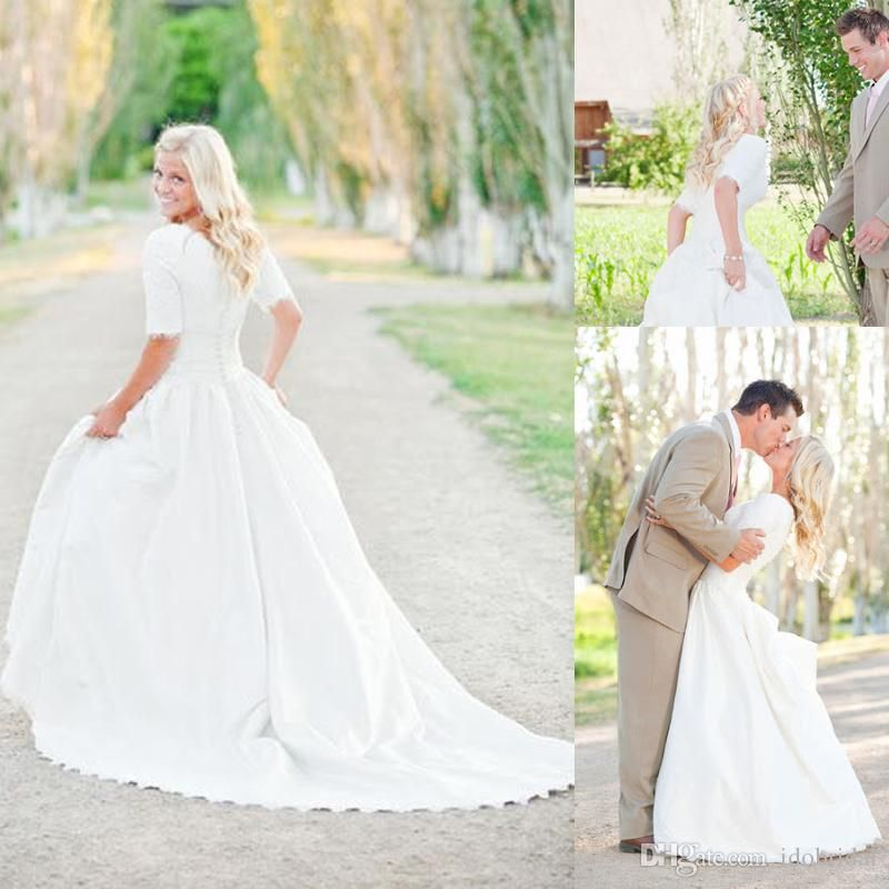 Modest Plus Size Wedding Dresses With Sleeves Lace Vintage Wedding ...