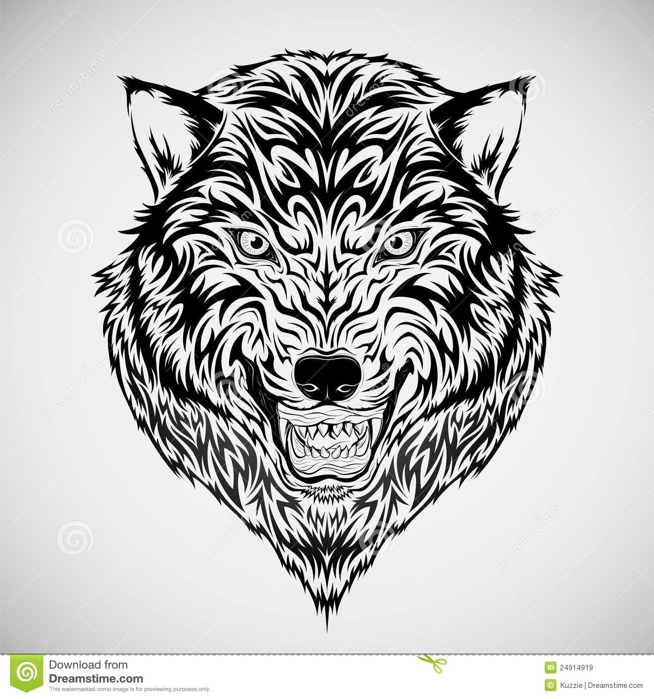 tribal wolf head tattoo Google Search Animal coloring