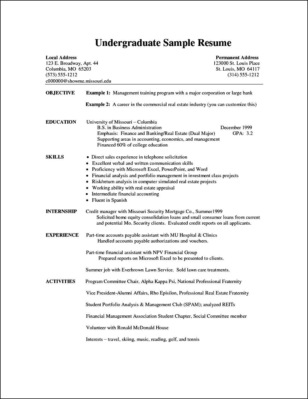 Resume Interests Examples Sample Resume Undergraduate Cover Letter For Vitae  Home Design