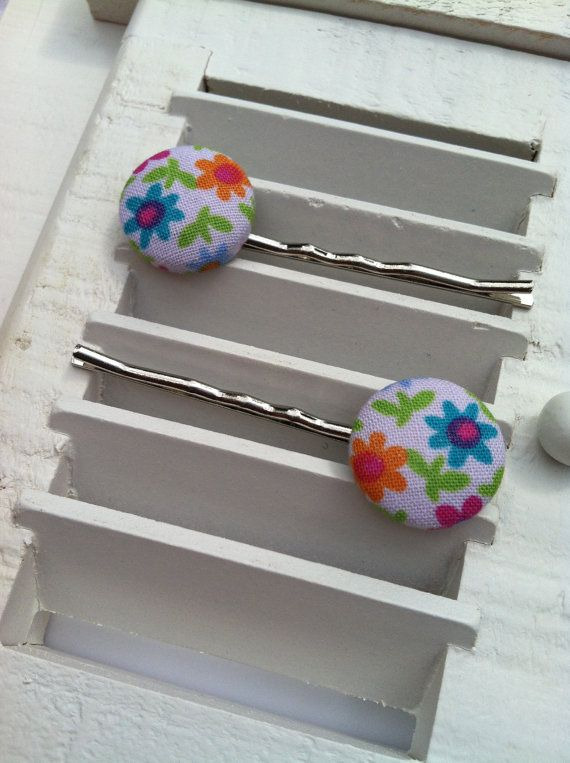 Multi-Colored Flowers on White Fabric Covered Button Bobby Pins