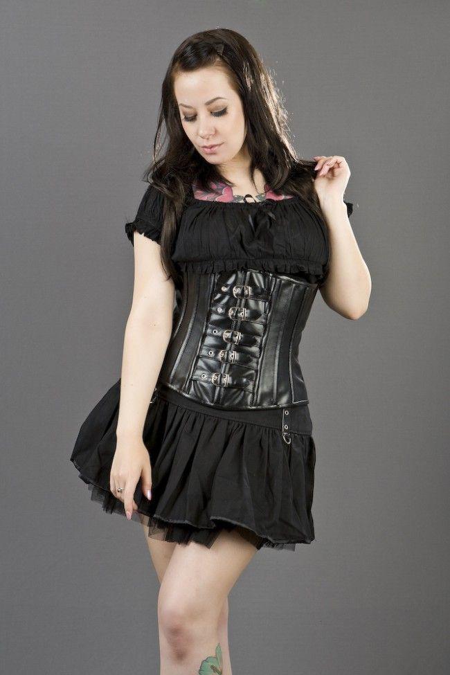 eff7820e178 Buckle underbust corset in black matte vinyl
