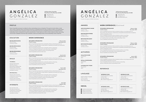 Creative & Professional Word Resume Resume design free