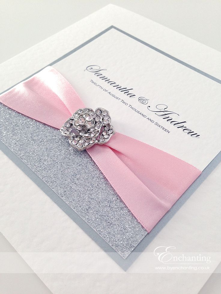 Pink sparkly wedding invitations the cinderella collection classic fold invitation featuring silver glitter
