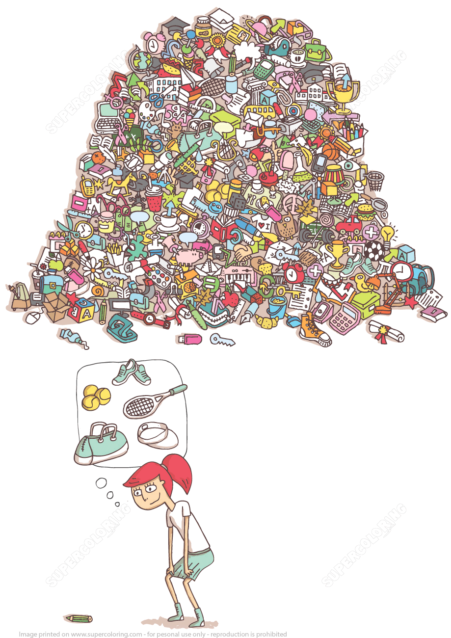 Help a Girl Find Her Tennis Equipment Puzzle   Super Coloring