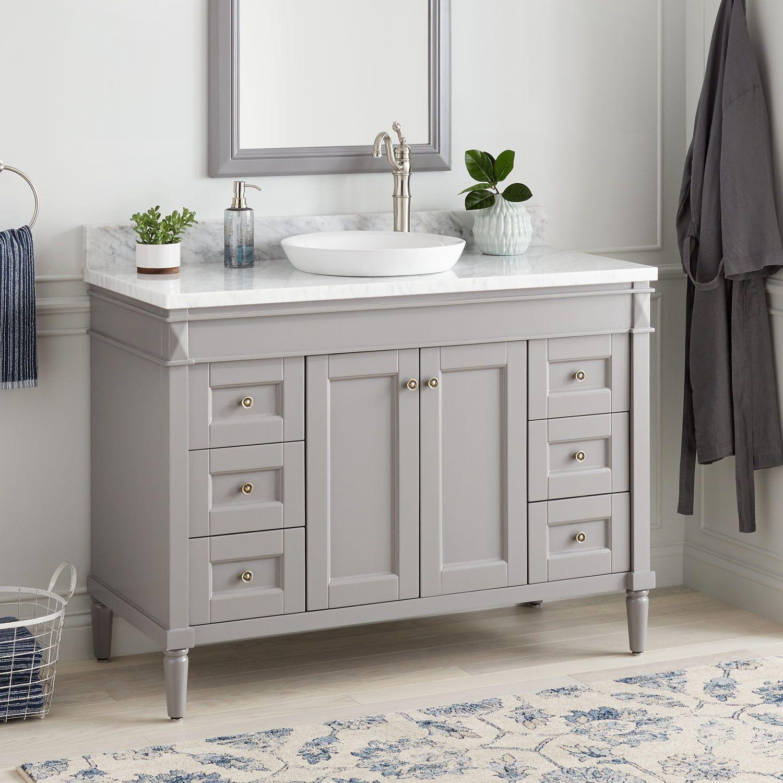 48 Chapman Vanity For Semi Recessed Sink Gray Bathroom Bathroom Vanity Primitive Bathrooms Rustic Bathrooms