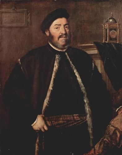 AD 1558 Portrait of Fabrizio Salvaresio by Titian, oil on canvas (112 x 88 cm) - Kunsthistorisches Museum, Vienna