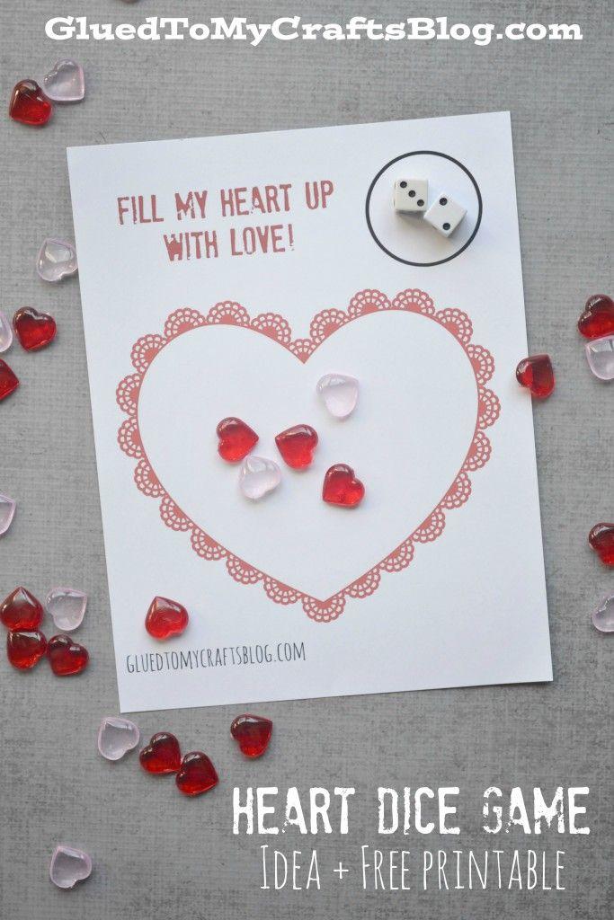 Valentine S Day Heart Dice Game For Preschoolers Free Printable Valentine Day Crafts Preschool Valentines Valentines School