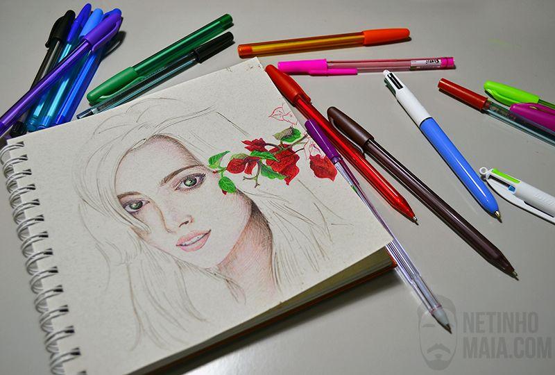 Sketchbook  desenho com canetas esferográficas coloridas