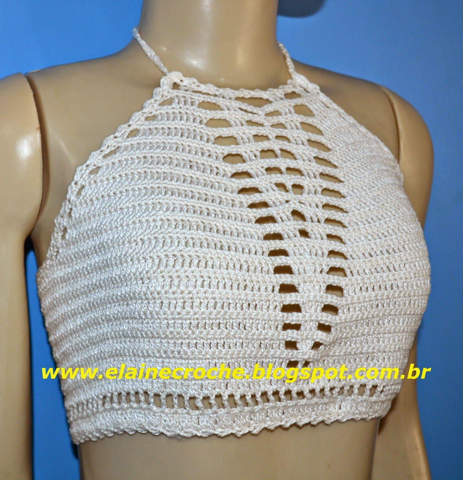 top cropped de crochê | roupas de croche | Pinterest