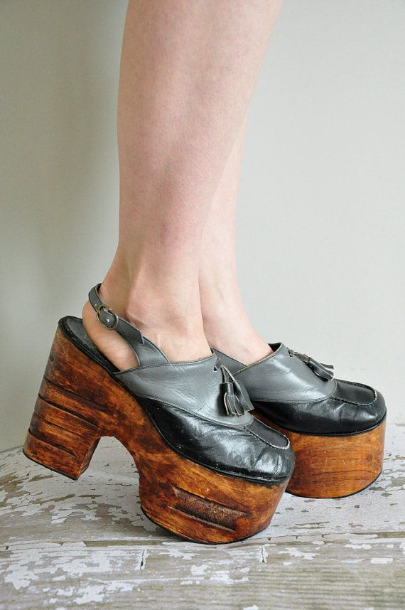 00a91708aac vintage 1970s wood platforms   rare 70s size 9 platforms   70s disco heels.