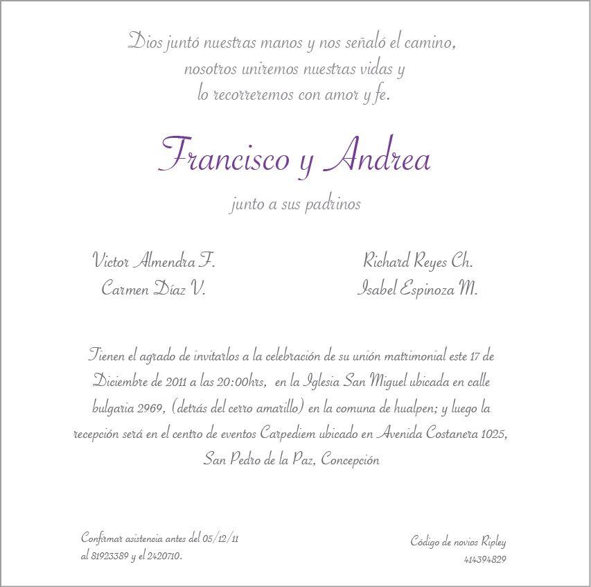 Pin De Oly Roque En Wedding Boda Texto Invitaciones De