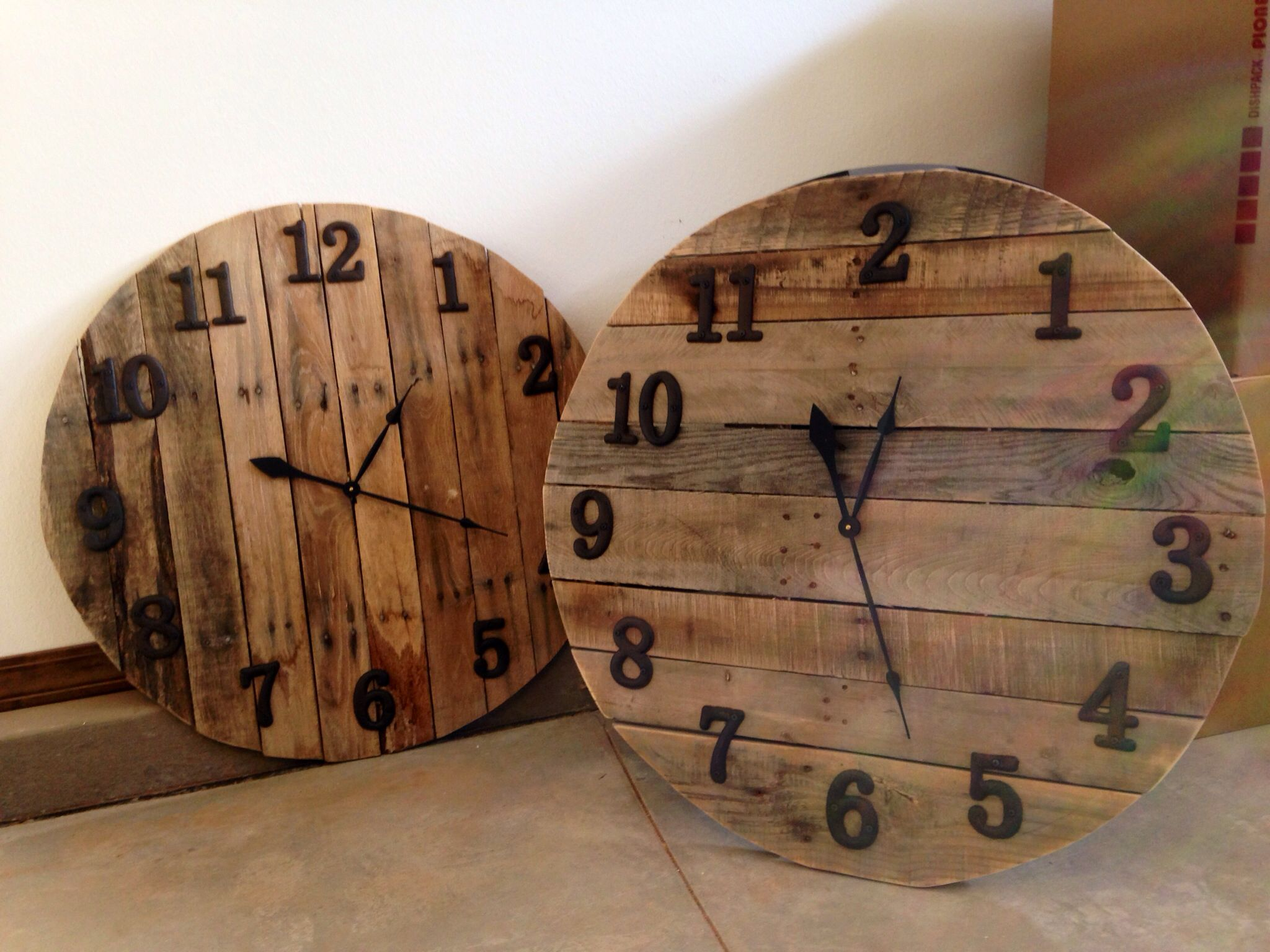 My Clocks Made From Pallets Iron S And Clock Kit From