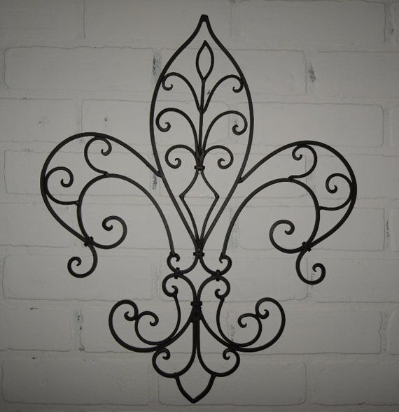 Metal Fleur De Lis Wall Decor / Shabby Chic Home / Black Wall Decor /  Wrought Iron / Bedroom Wall Decor / Kitchen Decor
