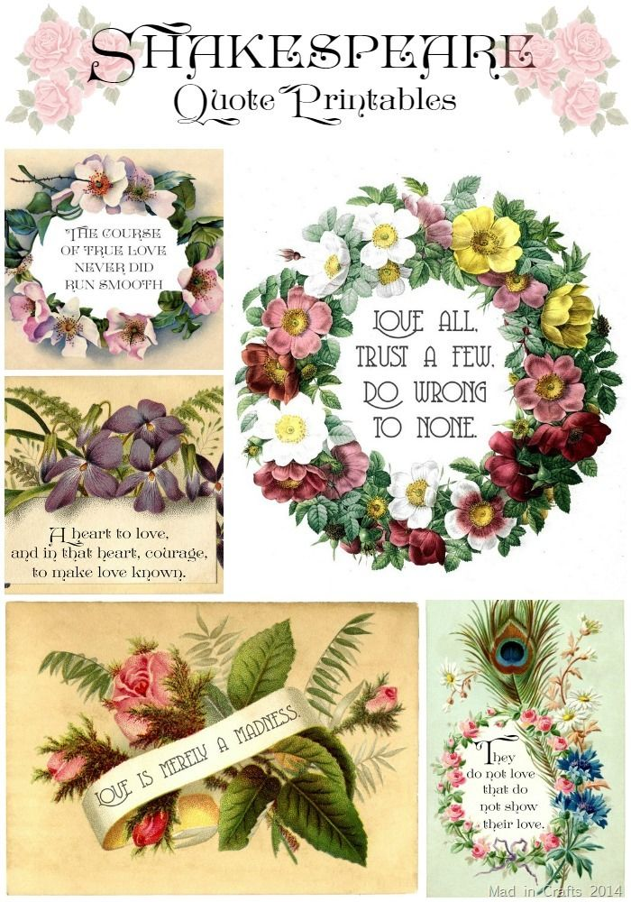 Vintage Style Shakespeare Printables For Valentines Day Diy Ideas