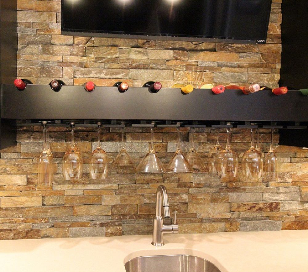 Basement Bar Custom Cabinets With Quartz Countertops And Stack