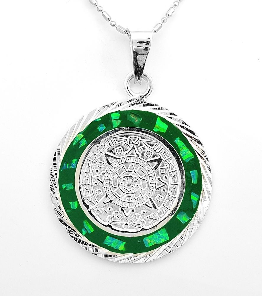 Aztec calendar silver green inlaid opal pendant taxco mexico azteca aztec calendar silver green inlaid opal pendant taxco mexico aloadofball Images