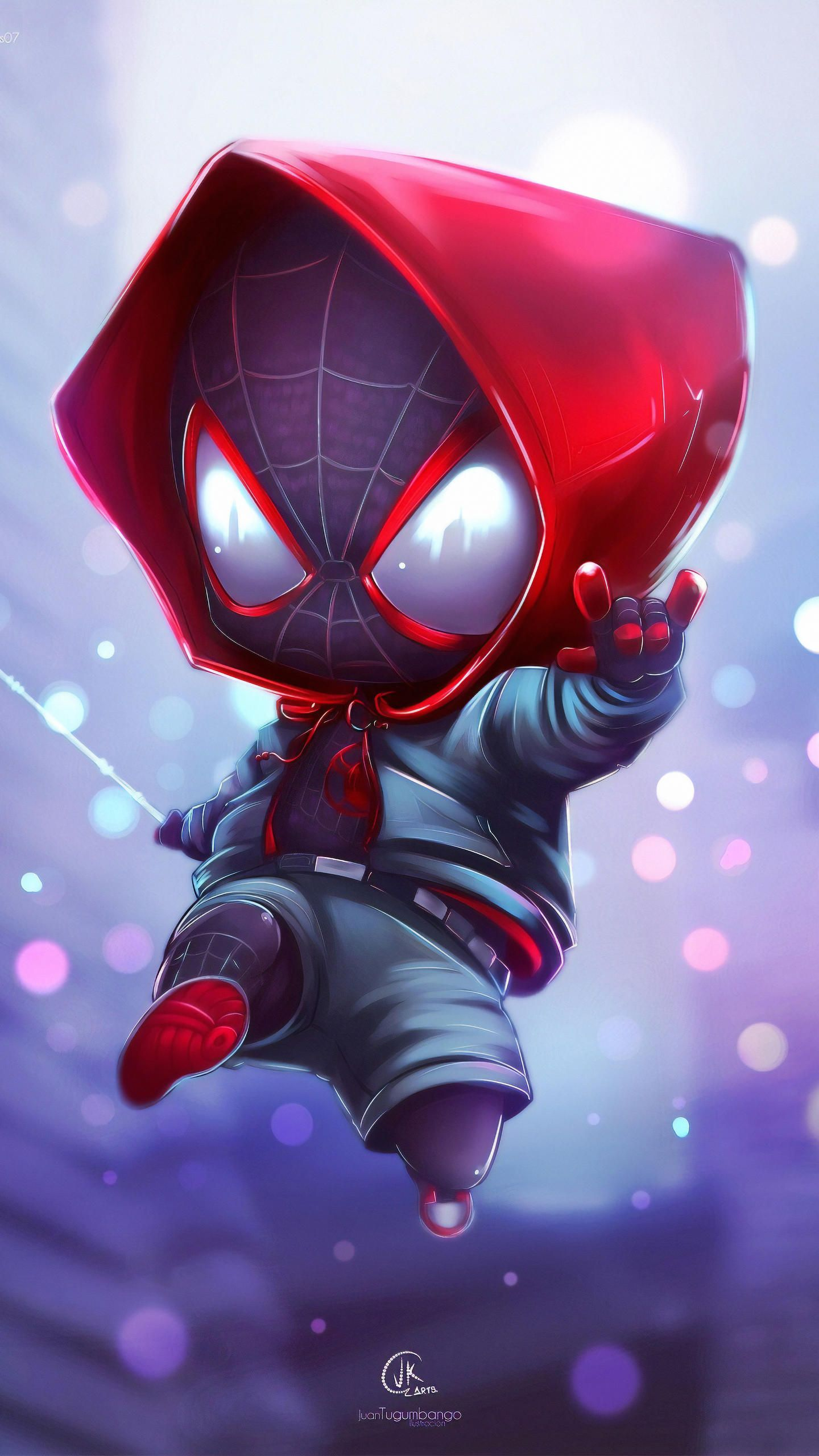Chibi Spider Miles HD Wallpaper en 2020 Spiderman