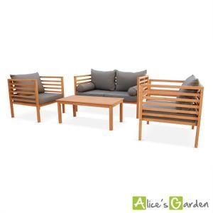 Salon de jardin Cordoba en bois, coussin gris anth | table basse ...