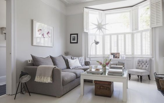 Victorian Terrace Sitting Room Plantation Shutters White Wooden Floors Grey Sofa Light Walls
