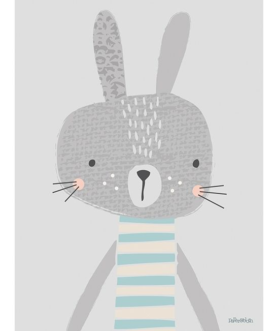 Tableau lapin rayure gris garcon chambre bebe enfant for Illustration chambre bebe