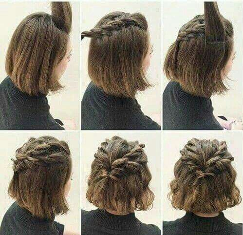 Braided Crown Hairstyle With Bob