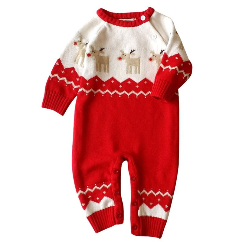 a6b9c4f420c Baby Winter Autumn Warm Long Sleeve Rompers With Hat Newborn Baby Christmas  Knitted Clothes Deer Pattern