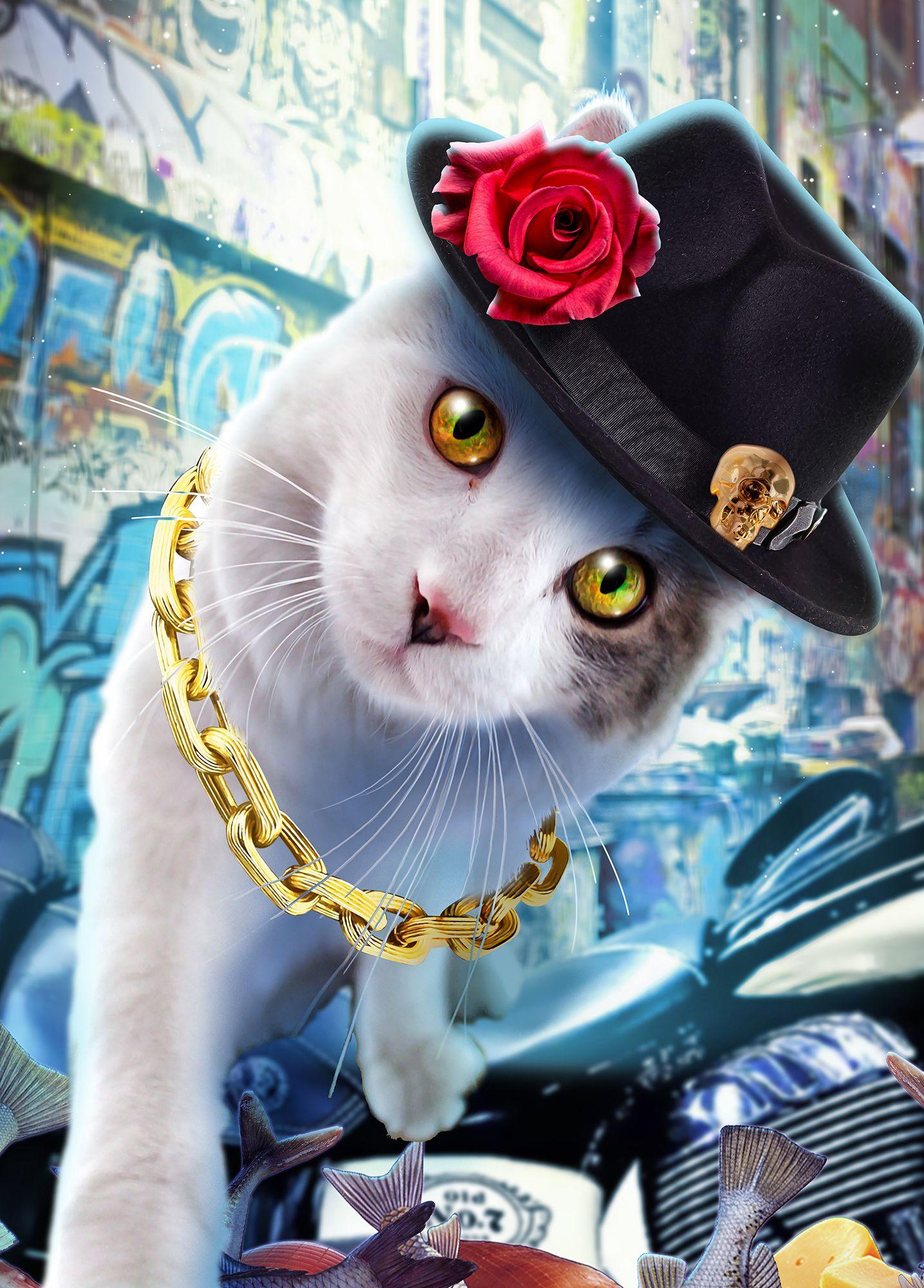 Custom Pet Portrait from Photo, Fantasy Poster of Digital