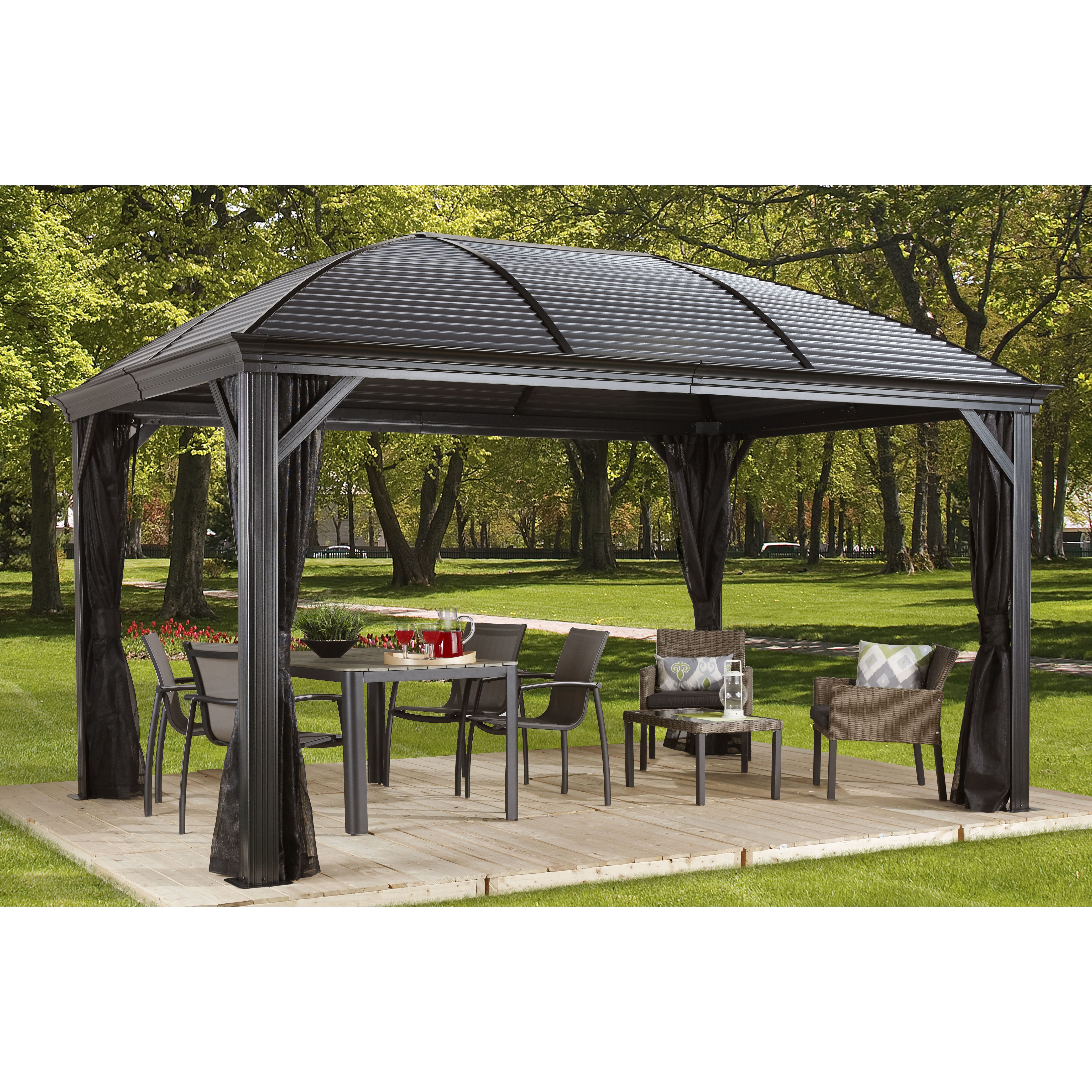 Aluminum Outdoor Shelters : Sojag moreno ft w d metal permanent gazebo